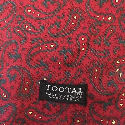 Vintage 1960s Red Tootal Scarf With Paisley Print • 45£