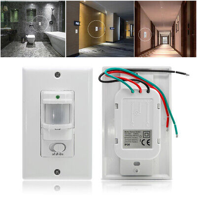 Time Delay Occupancy Light Switch Motion Sensor Auto On Off PIR Infrared Office • 11.45£
