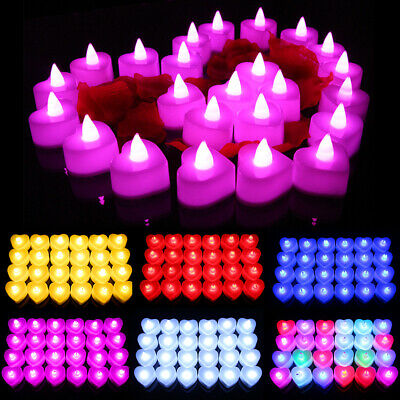 Valentine's Day Heart Shape Safety Electronic Candle Romantic Night Light • 7.25£
