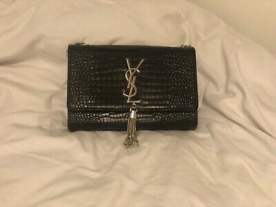 YSL Black - Women Tassel In Embossed Crocodile Leather - Cross Body Bag • 108£
