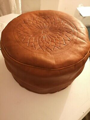 Dark Tan Genuine Leather Pouffe Moroccan Handmade New Large Size • 32.80£
