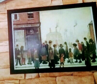 LS Lowry  Waiting For The Shops To Open  Block Framed Print • 12.50£