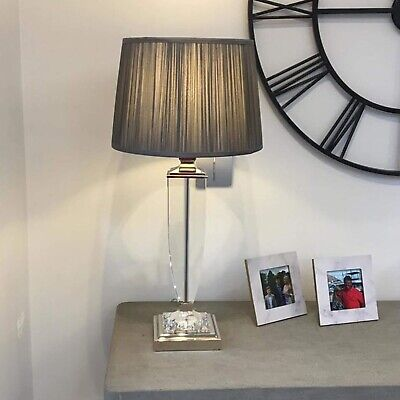 Laura Ashley Carson Small Table Lamp Polished Nickel Glass Base Only NEW RRP£85 • 59.95£