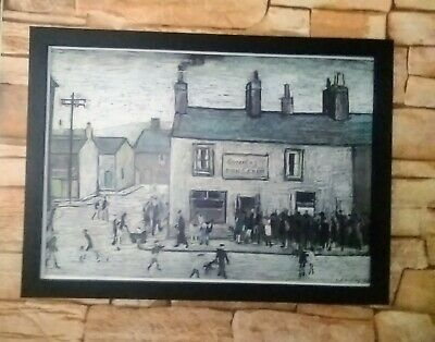 Ls Lowry.'Cowles Fish And Chip Shop' Block Framed Print • 12.50£
