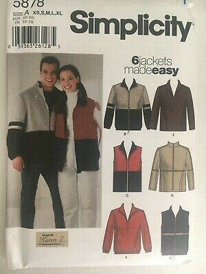 £5.74 • Buy NEW Simpicity 5878 Sewing Pattern Misses Mens And Teens Jacket Vest Top Unisex