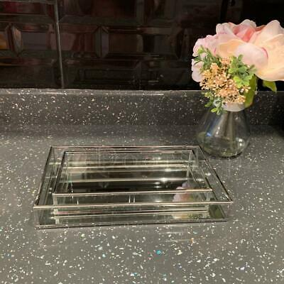 £15.99 • Buy Set Of 2 Rectangle Silver Mirror Trays Vanity Perfume  Makeup Candle Tray Plate