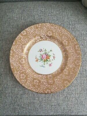 Minton Light Pink Gilt & Floral Brocade Cabinet Plate, 10.5/8in / 27cm, Perfect • 55£