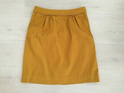 Boden Skirt Size 10 12 L Straight Thick Cotton Textured Mustard Lined Pockets • 19.99£