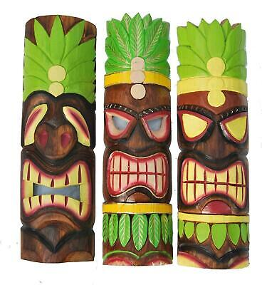 3 Tiki Masks 50cm Wall Mask 3er Set IN Hawaii Style Wooden Mask • 44.16£