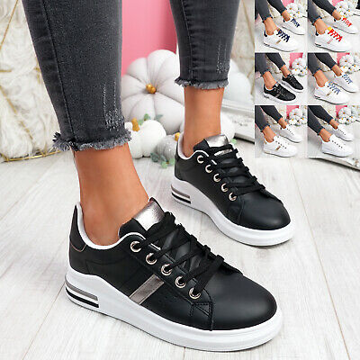 $ CDN22.78 • Buy Womens Ladies Lace Up Trainers Two Tone Sneakers Plimsolls Women Shoes Size
