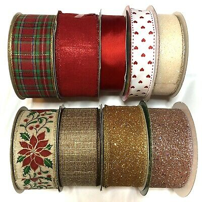 Luxury Christmas Wire Edged Ribbons - Gift Wrap Decoration Bows -  Price Per Mtr • 1.39£