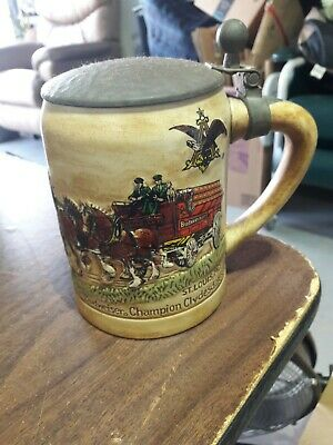 $ CDN39.20 • Buy Vintage 1980 Budweiser Champion Clydesdales Holiday Beer Mug Stein With Lid Rare