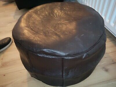 Dark Brown Genuine Leather Pouffe Moroccan Handmade New Large Size • 32.80£