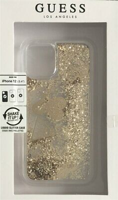 Guess Hard-Case Liquid Glitter Charms Logo Gold For IPHONE 12 Mini 5,4   • 28.37£