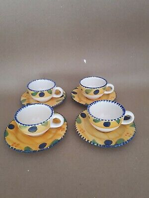 £20 • Buy Vintage French Hand Painted Spongeware ,small Coffee Cups And Saucers X 4