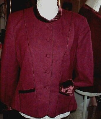 Caroline Charles 100% Wool And Velvet Plum  Jacket Size Uk14  • 95£