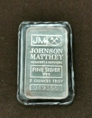 $ CDN229.95 • Buy Johnson Matthey 999 Fine Silver 5 Oz Silver Bar, Serial #: 049166