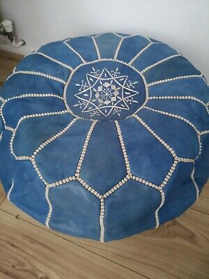 Blue Genuine Leather Pouffe Moroccan Handmade • 44.95£