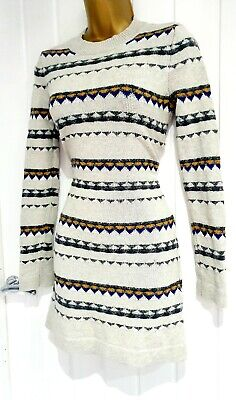 LEVIS STRAUSS Size 10 12 Chunky Knit Thick Striped Sleeved Jumper Dress Wool  • 12.50£
