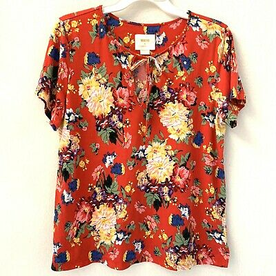 $ CDN28.02 • Buy Anthropologie Maeve Womens Top Large Red Floral Short Sleeves Cotton Blend