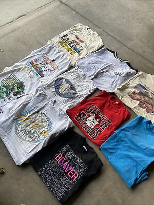 $ CDN65.17 • Buy 10 Vintage T Shirt Lot 90s. Made In USA Mostly Single Stitch UCLA Georgia Animal