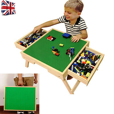 Folding Wooden Table Lego City Play Table Storage Drawers Custom Made For Kids • 55.99£