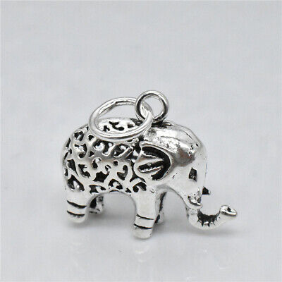 £7.36 • Buy Sterling Silver Hollow Elephant Charm Pendant 925 Silver Animal For Necklace
