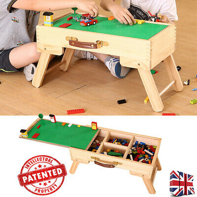 Kids Children Wooden Storage Table Lego City Table Chalkboard Play Custom Made❤ • 40.99£
