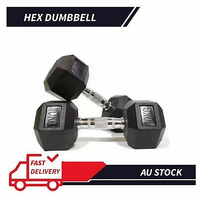 AU77 • Buy 1 Pair Hex Rubber Coat Iron Dumbbell Home Gym Strength Weight Training 7kg
