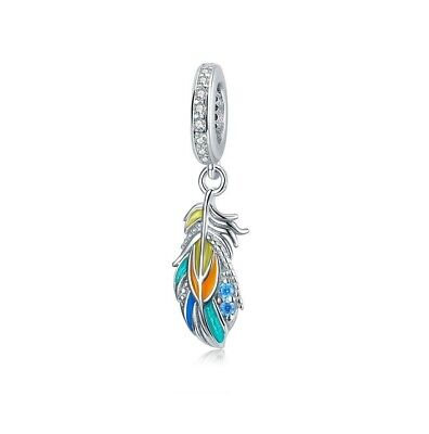 AU24.99 • Buy Sterling Silver Colours Of The Amazon Feather Bohemia Charm By YOUnique Designs