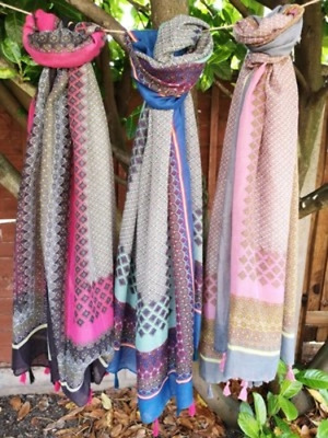 £5.99 • Buy Tasseled Scarf In Boho Border Print - 2 COLOURS - PERFECT GIFT
