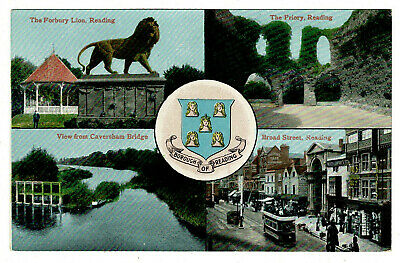 Early Multiview Postcard - Reading Berkshire • 0.50£