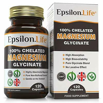 £23.99 • Buy Epsilon Magnesium Glycinate - Pure, 100% Chelated Mag Bisglycinate - 120 Tablets