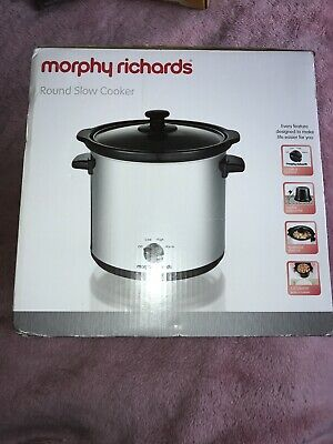 MORPHY RICHARDS ROUND SLOW COOKER, 3.5 L - Silver - New • 7£