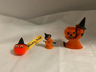 $ CDN39.19 • Buy 3 Vintage Halloween Rosbro Plastic Witch Candy Containers