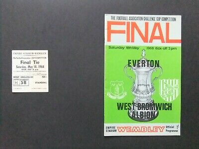 Everton V West Bromwich Albion 1968 FA Cup Final Programme And Ticket • 5£