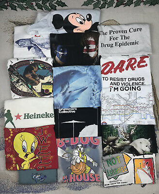 $ CDN41.71 • Buy 15 VALUE Vintage T Shirt Lot Single Stitch Wholesale Bulk Disney DARE L XL