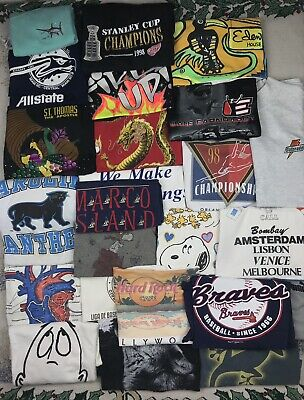 $ CDN57.35 • Buy 30 PREMIUM Vintage T Shirt Lot Single Stitch Wholesale Bulk NFL Hard Rock L XL