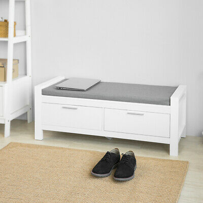 SoBuy®Storage Bench With Seat Cushion,2 Drawers Hallway Shoe Cabinet,FSR74-W,UK • 79.95£