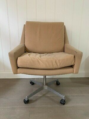 AU275 • Buy Vintage 70's Swivel Home Office  Directors Arm Chair With Wave Spring Suspension