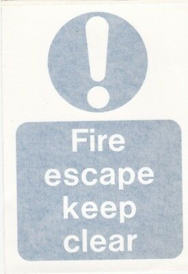 FIRE ESCAPE KEEP CLEAR - Safety Self Adhesive Notice • 1.50£