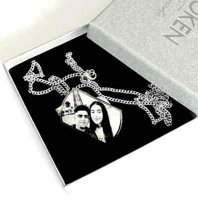 Personalised Photo Engraved Mens Tag Pendant Necklace Including FREE Gift Box • 19.50£