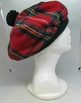 Lochcarron Of Scotland Red Tartain Wool Tam O'Shanter Beret With Green Accents  • 14.99£