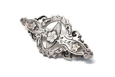 A Pretty Antique Victorian Sterling Silver 925 Floral Cut Out Brooch #26042 • 0.99£