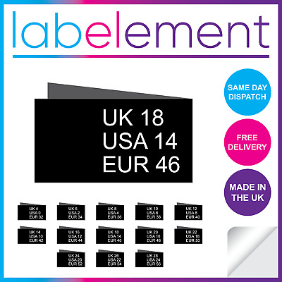 £5.29 • Buy Woven Size Tabs Pips Labels Size 4-28 Garment Clothing Sewing Black