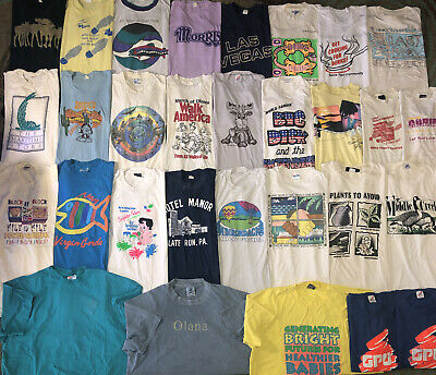 $ CDN7.17 • Buy Vintage T Shirt Lot Of 30 L-Xxl Single Stitch USA Made Screen Stars 80s 90s Soft