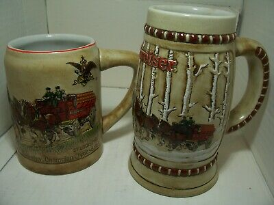 $ CDN176.40 • Buy Budweiser 1ST AN 2ND 1980 1981 Holiday Stein Made By Ceramarte