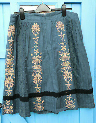 NOA NOA Vintage Blue Ethnic Skirt Size XL 16 Embroidered Cream Flowers And Lace • 22.75£