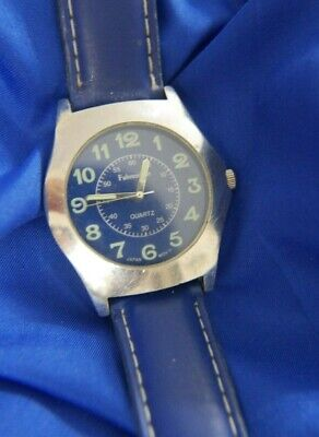FAHRENHEIT BLUE FACE BLUE LEATHER SILVER TONE Band Watch NEW BATTERY A20 • 13.89£