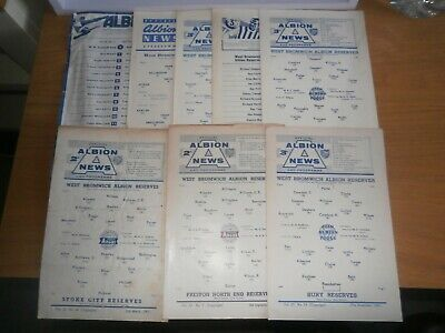 WEST BROM WBA HOME RESERVE PROGRAMMES 1961 To1974 • 1.75£